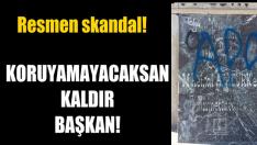 """Atatürk yazısının üstü karalandı; """"APO"""" yazıldı"""