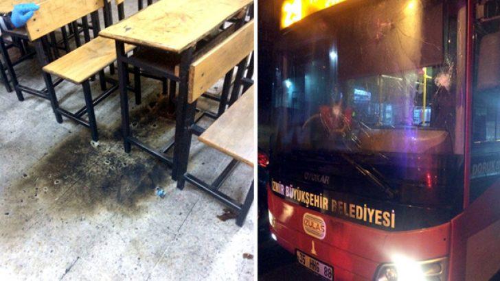 İzmir'de belediye otobüsü ve okula molotoflu saldırı: 9 gözaltı
