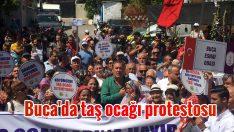 Buca'da taş ocağı protestosu