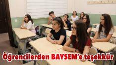 Öğrencilerden BAYSEM'e teşekkür