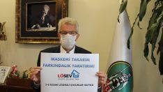 """Başkan Eriş, """"Maskemi takarım farkındalık yaratırım"""" dedi"""