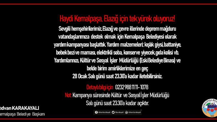 Başkan Karakayalı'dan Kemalpaşa'da 'Elazığ' için birlik çağrısı