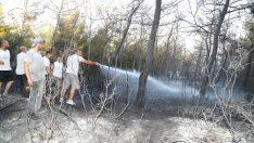 Tüm ekipler ve vatandaşlar seferber oldu Sarnıç yangını büyümeden söndürüldü!